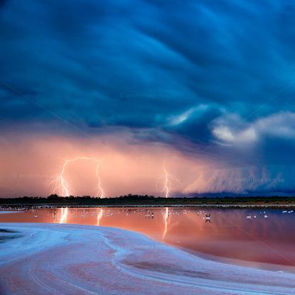 Lightning over salt lake